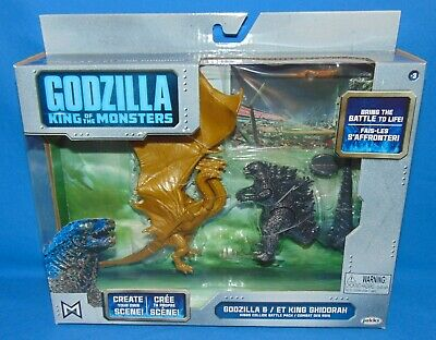 "2019 JAKKS Pacific GODZILLA vs KING GHIDORAH *NIB* 3.75"" King Monsters Diorama"