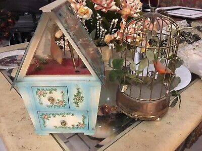 (2) Vintage Animate Swinging Bird Cage Music Box With Drawer+Brass cage