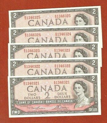 Rare 5 1954 Consecutive Serial Number Two Dollar Bank Notes Uncirculated E576