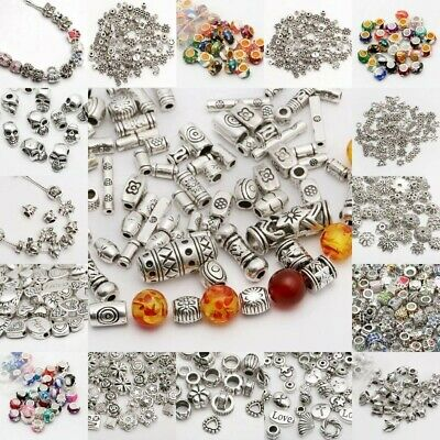 1-210pcs Tibetan Silver Metal Charms Loose Spacer Beads Wholesale Jewelry Making