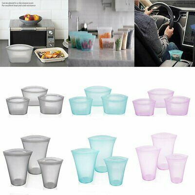 US Reusable Silicone Food Storage Bags Dishes Cups Zip Lock Leakproof Containers