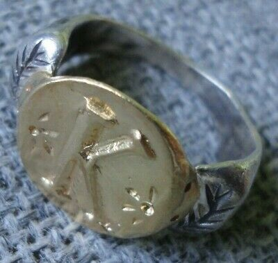 """Antique Ancient Roman Gold Silver ring Inscribed Latin letter """" K """" Very Fine"""