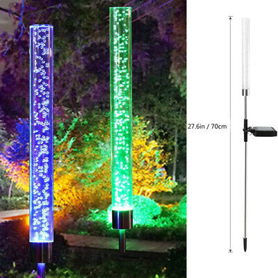 2PCS LED Solar Powered Acrylic Bubble RGB Light Color Changing Lawn Lamp Outdoor
