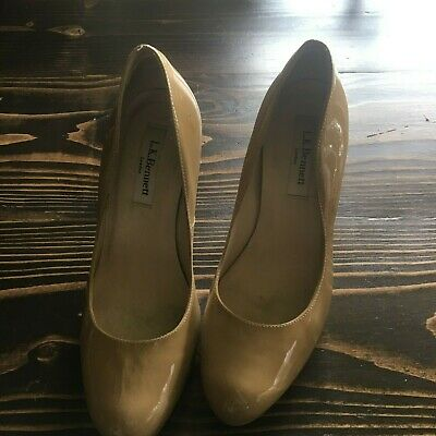 988dd4de16ed LK Bennett Nude Sledge Heels- Size 37 (US7) In Genuine Patent Leather London