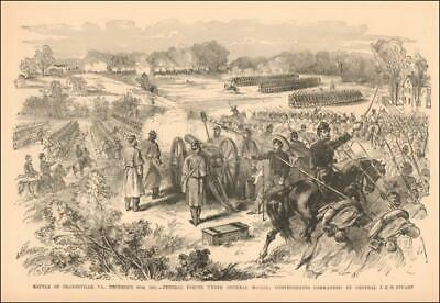 DRANESVILLE, FAIRFAX, VIRGINIA, CIVIL WAR BATTLE antique engraving original 1885