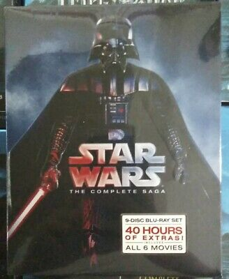Star Wars: The Complete Saga (Blu-ray Disc 2011,9-Disc Set, Boxed Set) Brand New
