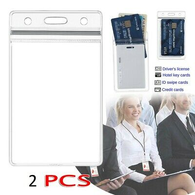 QUALITY Vertical Clear Card ID Holder Sleeve Office Name Tag Pass lanyard 2pcs*