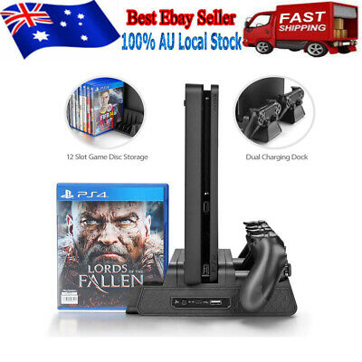 Vertical Cooling Fan Stand with Gamepad Charging Station For PS4/Slim/PS4 Pro