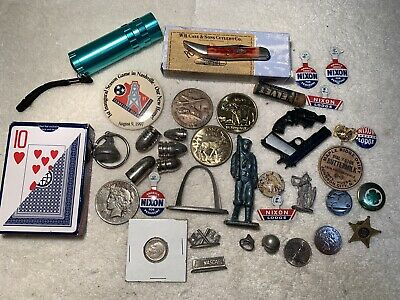 JUNK DRAWER Case XX Silver Dollar Dime Toy Gun Campaign Button Coins Cards LOT