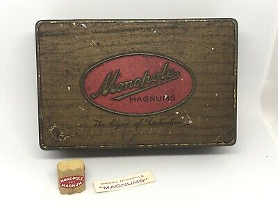 Vintage MONOPOLE MAGNUMS CIGAR TIN with Paper Inserts & Original Label Band