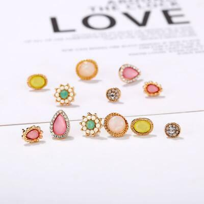 6 Pairs Opal Crystal Zircon Bohemian Gold Earrings Jewelry Stud Earrings SH019