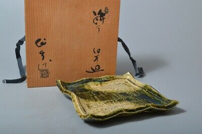T476:Japanese Oribe-ware Green glaze TRAY/Plate, auto w/signed box Tea Ceremony