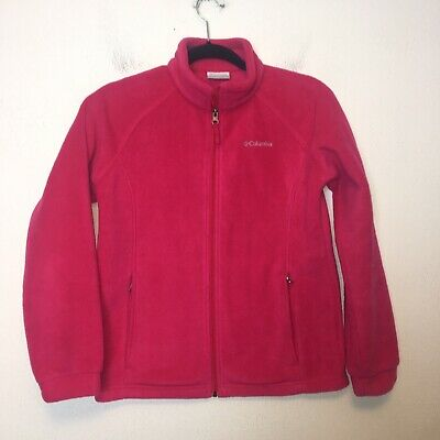 Columbia Girls Pink Zip Up Fleece Jacket Size Large 14/16