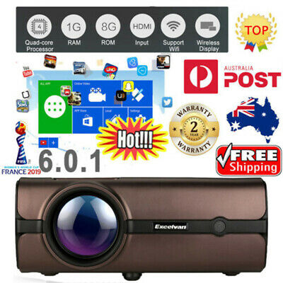 Android Wireless WIFI Projector Home Mini LED 7000 Lumens HD 1080P USB HDMI VGA