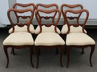 Set 6 Victorian Mahogany Cab Leg Dining Chairs with Pop out Seats