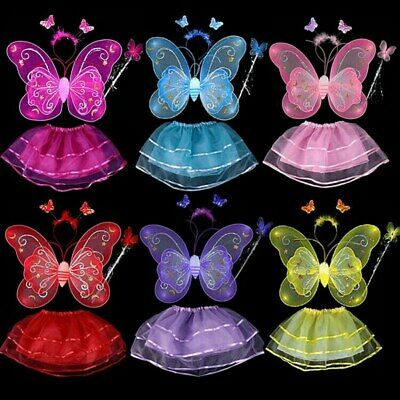 4Pcs Kids Girls Cute Fairy Butterfly Wings Wand Fancy Dress Dance Party Costume
