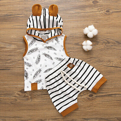 Newborn Baby Boy Girl Hooded Feather T shirt Tops Striped Shorts Pants Clothes