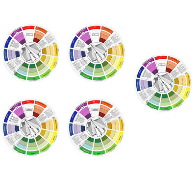 5pcs Coloring Matching Guide Color Wheel Colors Mixing Blending Chart Tool