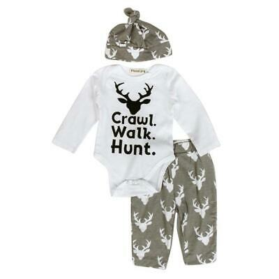 Fashion Newborn Baby Boys Girls Tops Romper Jumpsuit Long Pants Outfits Clothes