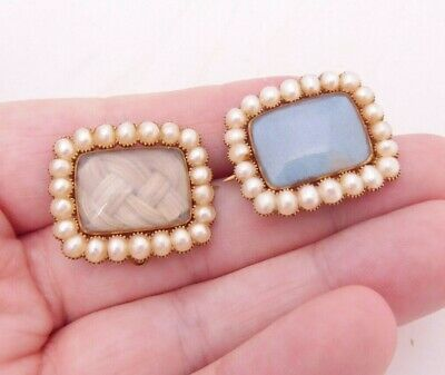 15ct gold natural seed pearl mourning locket brooches, rare Georgian
