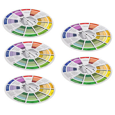 5x Artist's Paint Color Wheel Color Mixing Guide Match Chart Portable