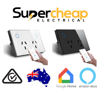 WiFi Google Double Power Point Socket GPO Electrical Outlet LED CLIPSAL look