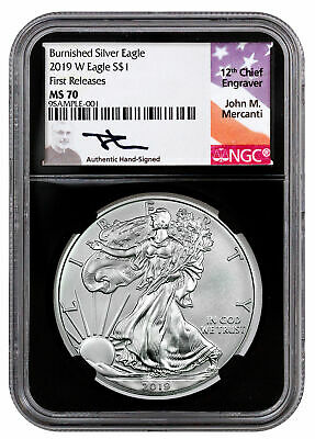 2019 W Burnished American Silver Eagle NGC MS70 FR Black Core Mercanti SKU55864