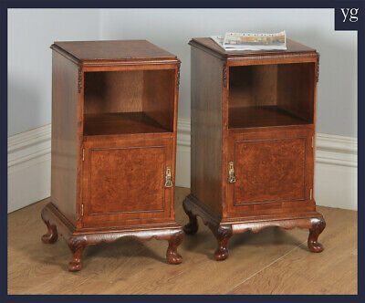 Antique Queen Anne Style Walnut Bedside Cabinet Tables Nightstands by Maple & co