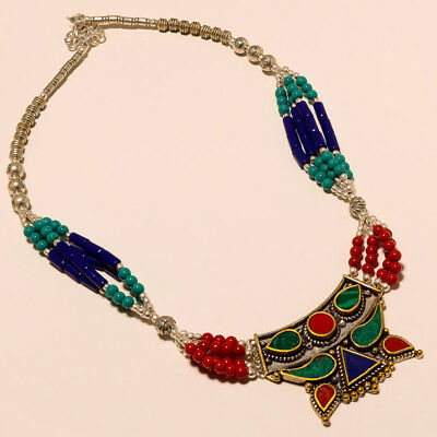 """Anniversary Gift Jewelry ! Lapis Turquoise Coral Silver Plated Necklace 17""""18"""""""