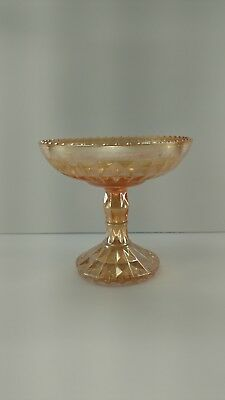 Old Vintage Small Peach Glass Compote / Candy Dish ~Iridescent ~ Glassware