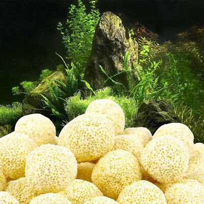 100x 21mm Aquarium Porous Ceramic Filter Media Net Bag Biological Ball Fish Tank