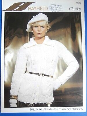 """Hayfield Knitting Pattern 1874 - Ladies Chunky Jacket 30""""-44"""" - Not a copy"""