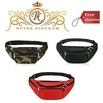 Unisex Fanny Pack 5 Zipper Pockets Nylon Waist Bag Women Men Trainer Yoga Gym