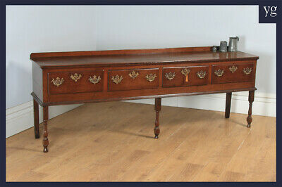 Antique Lancashire Cheshire Georgian Oak 8ft 4-Drawer Low Dresser Base Sideboard