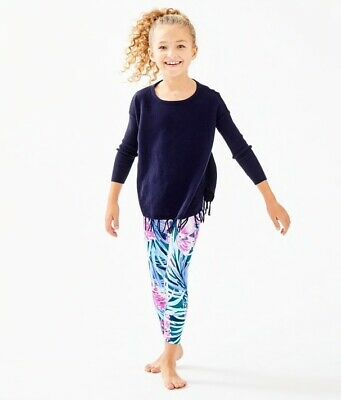 NWT Lilly Pulitzer Girls Maia Legging Mr. Peacock Blue Tweethearts Size L