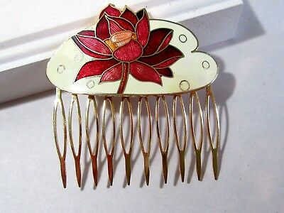 Enamel Cloisonne Comb Oriental Chinese Style Brass Teeth Beige And Red Flower