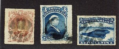 3x Newfoundland Used Rouletted Stamps #37-1c 39-3c 40-5c Cat Value = $110.00