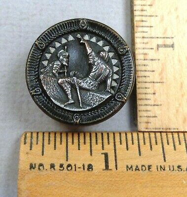 AENEAS & FERRYMAN CHARON, 1800s Mythological Picture / Twinkle BUTTON, Embossed