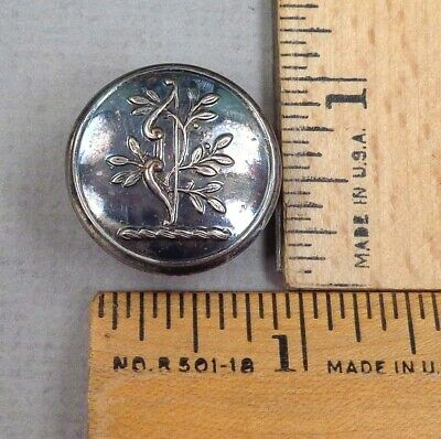 BOW with BRANCH Antique CREST BUTTON, 1800s, Firmin & Sons Backmark