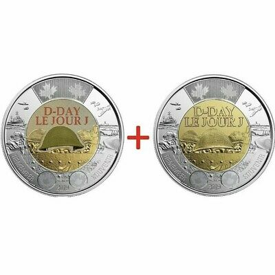 TWO (2) 2019 75th D-Day COLOURED + NO COLOUR UNC Canada $2 dollar toonie coins