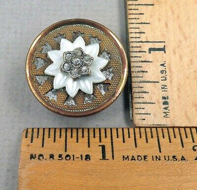 Multi-Material TRANSITIONAL Antique BUTTON, Brass, Paste, MOP, Early 1800s