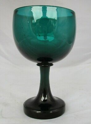 Early Victorian Bristol Green Wine Glass - Unusual Foot Formation