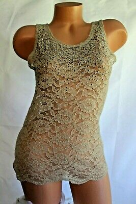 WET SEAL (S) Tank Top Stretch Mesh Lace Sheer Ecru Silvertone Studded Pullover