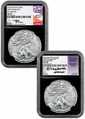2pc 2019W Burnished Silver Eagle NGC MS70 FR Bk Mercanti-Jones Label SKU58264