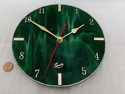 70s GLASS WALL CLOCK, Vintage GREEN & GOLD STAINED GLASS Retro AA BATTERY QUARTZ