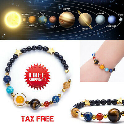 Unisex Solar System Bracelet Stone Beads Bangle Universe Galaxy Eight Planets
