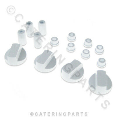 Universal Replacement Control Knobs Pack Of 4 White Plastic Oven Cooker Grill