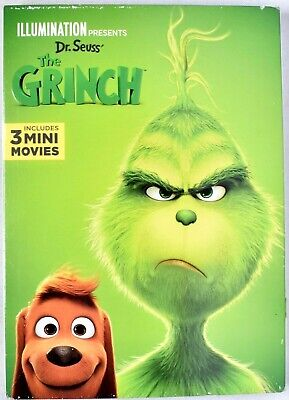 Dr Seuss' THE GRINCH 2019 DVD With 3 Mini Movies >NEW<  (Slipcover Damage)