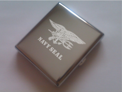 Cigarette cases engraved with emblems of  US Army (Navy Seal, USMC, .)