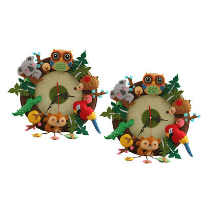 2Sets DIY Clock Wall Hanging Felt Applique Kit Sewing Projects for Art Craft